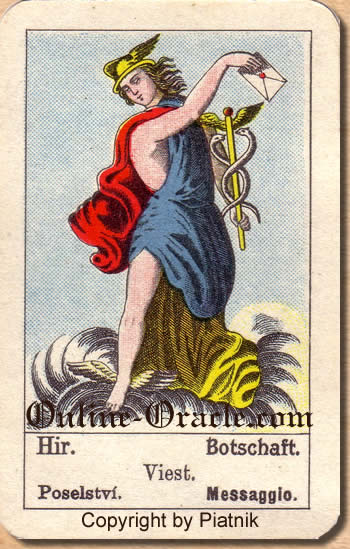 Botschaft, Biedermeier fortune telling cards with ancient tarot
