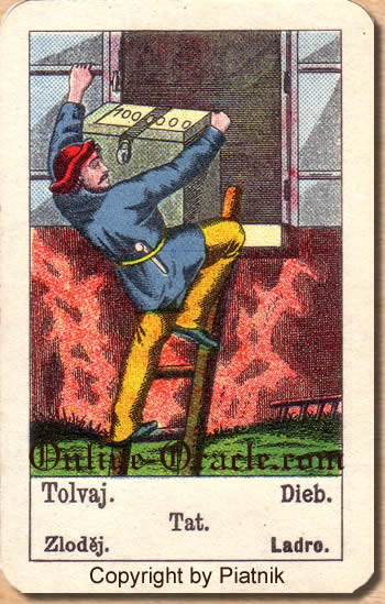 Dieb, Biedermeier fortune telling cards with ancient tarot
