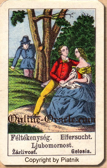 Eifersucht, Biedermeier fortune telling cards with ancient tarot