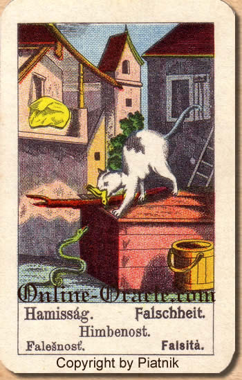 Falschheit, Biedermeier fortune telling cards with ancient tarot