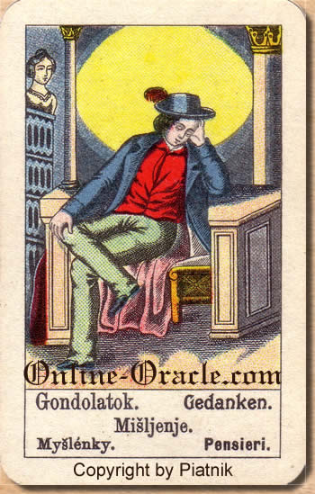 Gedanken, Biedermeier fortune telling cards with ancient tarot