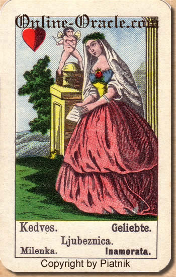 Geliebte, Biedermeier fortune telling cards with ancient tarot