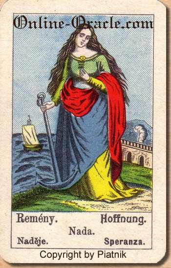 Hoffnung Biedermeier fortune telling cards with ancient tarot