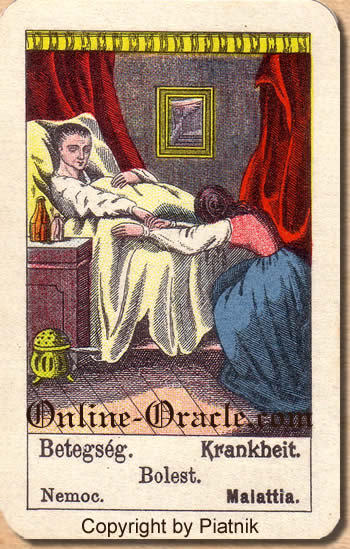 Krankheit Biedermeier fortune telling cards with ancient tarot