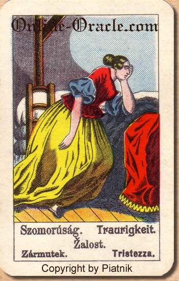 Traurigkeit Biedermeier fortune telling cards with ancient tarot