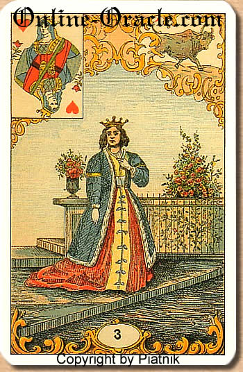 A blonde woman, Destin Antique fortune telling cards with divination and cartomancy