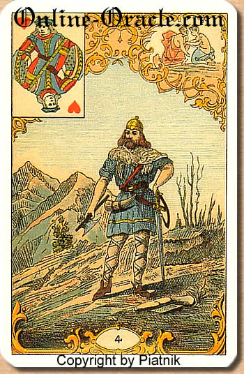 A blond young man, Destin Antique fortune telling cards with divination and cartomancy