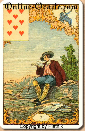 A blond girl, Destin Antique fortune telling cards with divination and cartomancy