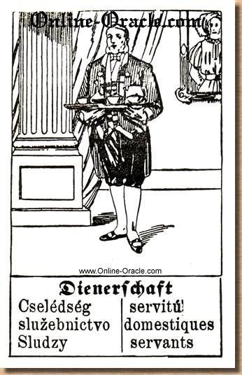 Attendants, Servants, Hegenauer´s antique ancient Fortune telling Cards from Germany