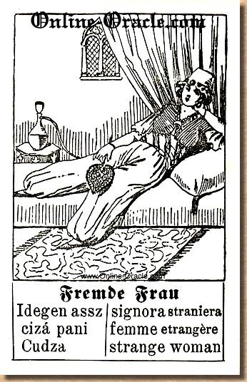 A strange woman Hegenauer´s antique ancient Fortune telling Cards from Germany