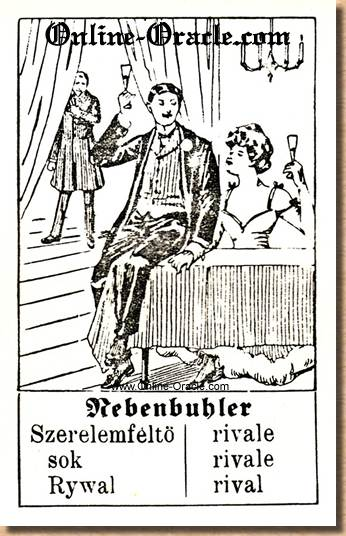 Rival in love misunderstanding Hegenauer´s antique ancient Fortune telling Cards from Germany