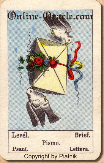 Brief, Biedermeier fortune telling cards with ancient tarot