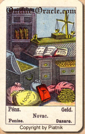 Geld, Biedermeier fortune telling cards with ancient tarot