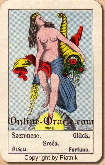 Glück, Biedermeier fortune telling cards with ancient tarot