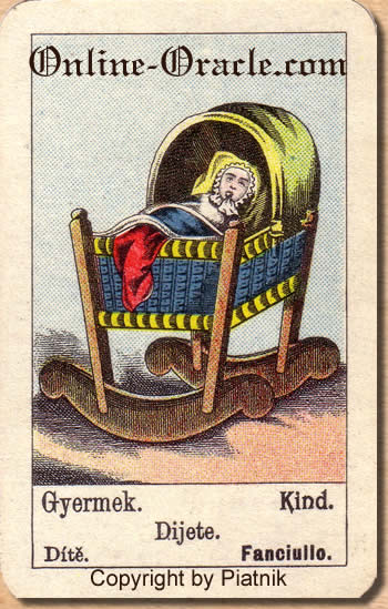 Kind Biedermeier fortune telling cards with ancient tarot