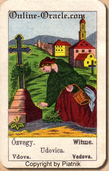 Witwe Biedermeier fortune telling cards with ancient tarot