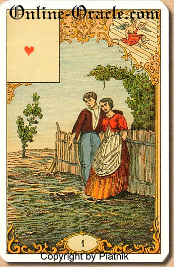 A pleasant meeting, Destin Antique fortune telling cards with divination and cartomancy