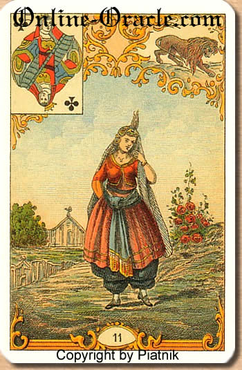 A brunette woman, Destin Antique fortune telling cards with divination and cartomancy
